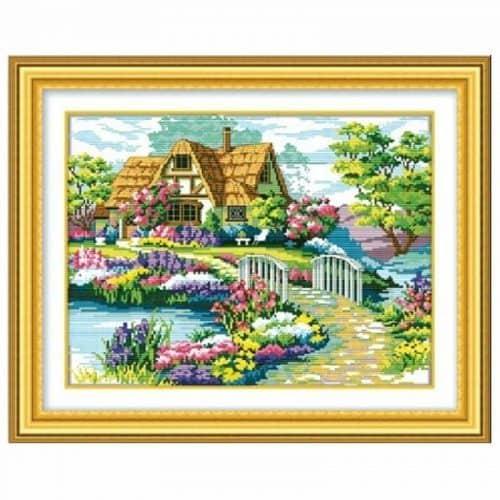 Набор вышивки крестом 11 СТ Пейзаж. Деревенский дом, речка, природа