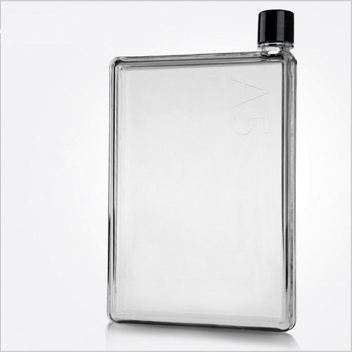 Прозрачная пластиковая бутылка-фляжка размера А5