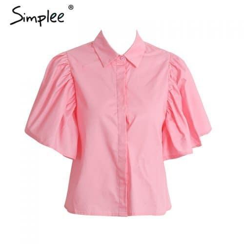 Розовая женская рубашка-блуза с объемными короткими рукавами-бабочками и открытой спиной