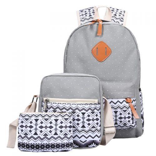 Рюкзак женский тканевый городской школьный молодежный в наборе с маленькой сумкой и кошельком/косметичкой
