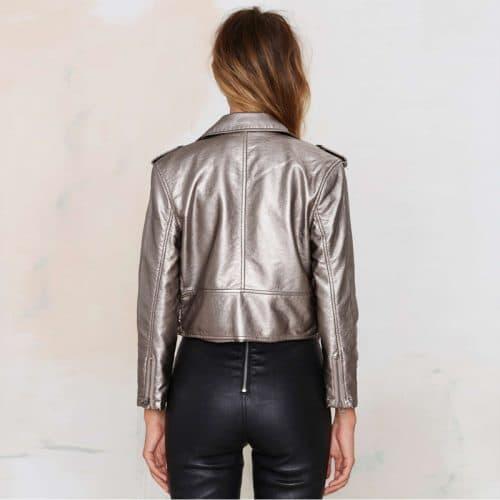 Серебряная женская кожаная куртка-косуха