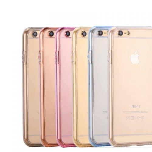 Силиконовый двойной прозрачный мягкий чехол-бампер-обложка (задняя и передняя крышка) на айфон (iPhone) 5, 6, 7