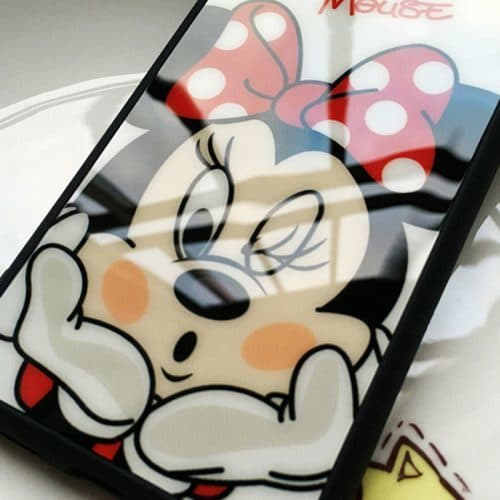 Силиконовый мягкий чехол-бампер с Минни и Микки Маус на айфон (iPhone) 5, 6, 7