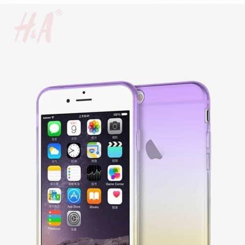 Силиконовый полупрозрачный мягкий чехол-бампер с градиентом на айфон (iPhone) 5, 6, 7
