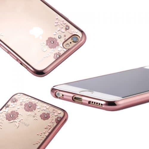 Силиконовый прозрачный мягкий чехол-бампер с цветами и стразами на айфон (iPhone) 5, 6, 7