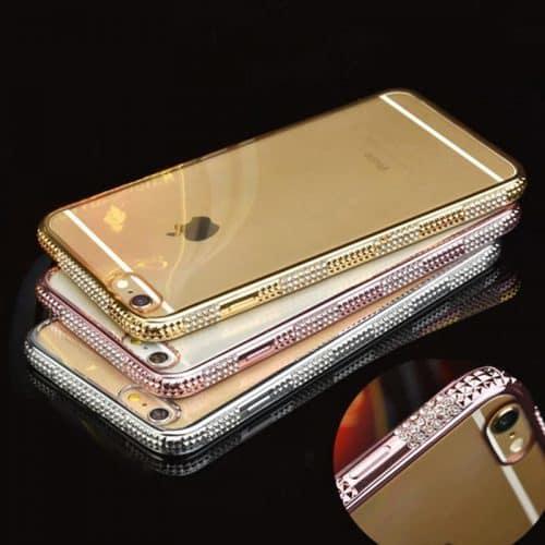 Силиконовый прозрачный мягкий чехол-бампер со стразами на айфон (iPhone) 6, 6s, 6 plus