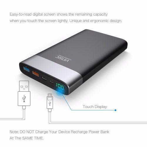 Vinsic P3 Power Bank 3.0 портативное зарядное внешнее устройство на 20000 мАч с тремя usb портами