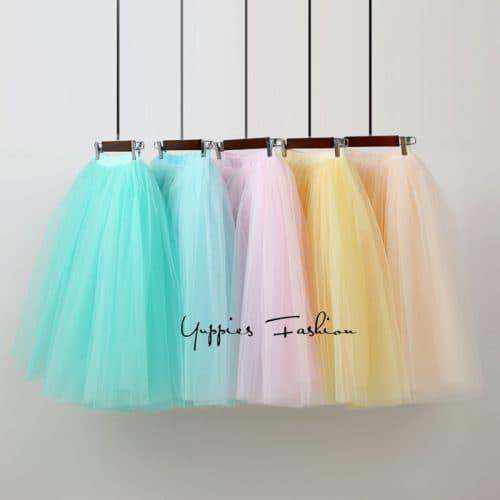 Женская плиссированная пышная юбка-пачка из тюля на резинке