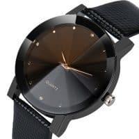 Женские и мужские наручные кварцевые повседневные черные минималистичные часы с аналоговым дисплеем