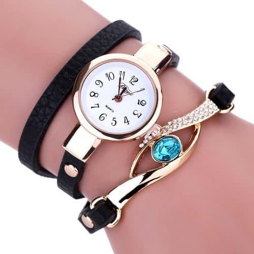 Женские наручные кварцевые часы-браслет с аналоговым дисплеем и камнями-кристаллами на ремешке
