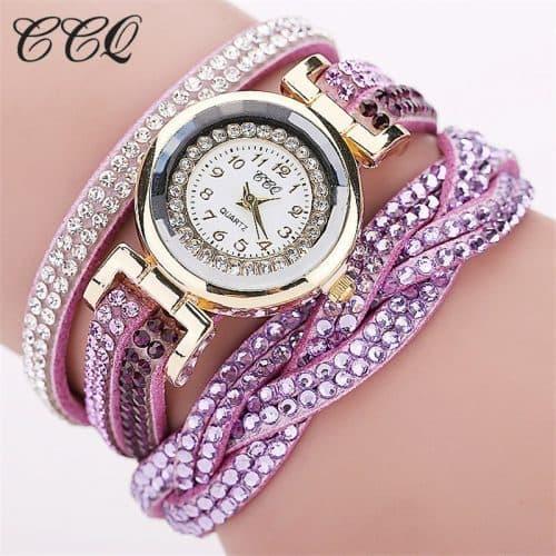 Женские наручные кварцевые часы-браслет с аналоговым дисплеем и камнями-кристаллами по всему ремешку