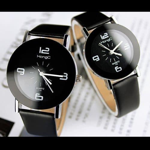 Женские наручные кварцевые черные и белые повседневные часы