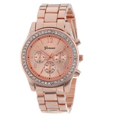 Женские наручные кварцевые металлические часы с кристаллами