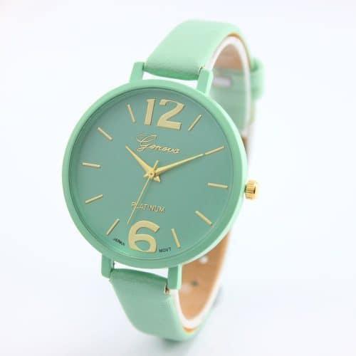 Женские наручные кварцевые повседневные часы с аналоговым большим дисплеем и узким ремешком