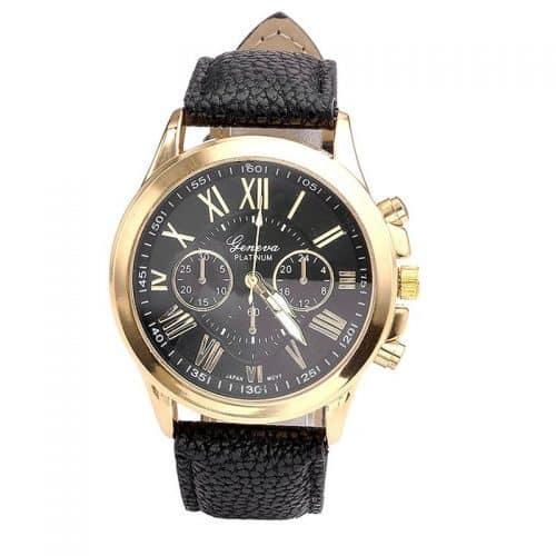 Женские наручные кварцевые повседневные часы с аналоговым дисплеем и римскими цифрами