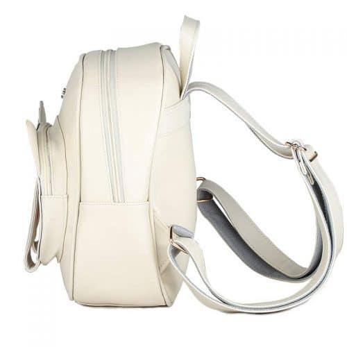 Женский детский небольшой черный/белый рюкзак в виде кошки с лапками на 20 л из искусственной кожи