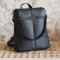 Женский квадратный небольшой рюкзак-сумка из искусственной кожи на 20 л с ручкой, заклепками