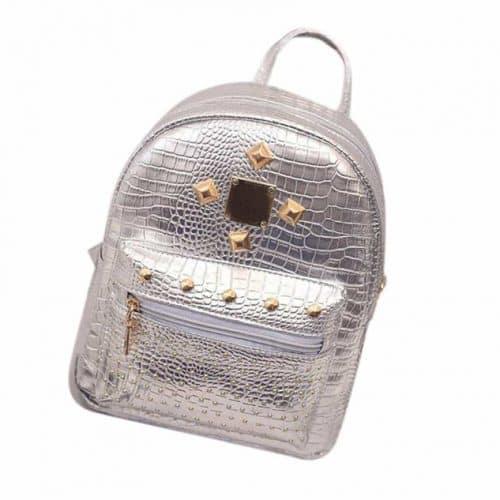 Женский маленький рюкзак с золотыми заклепками из искусственной кожи, имитированной под кожу крокодила