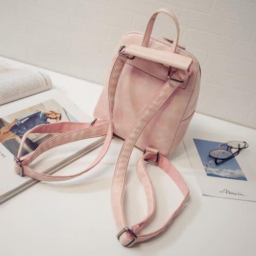 Женский небольшой однотонный рюкзак с ручкой на молнии из искусственной кожи