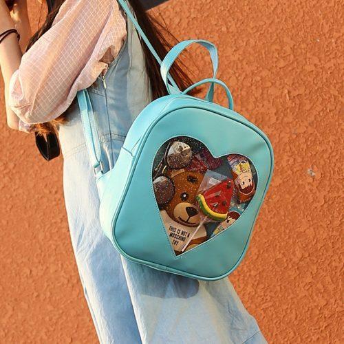 Женский рюкзак с прозрачным сердцем