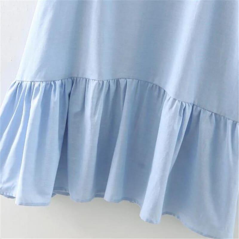 a3fa43556be ... Женское голубое длинное летнее платье свободного кроя с оборками внизу  ...