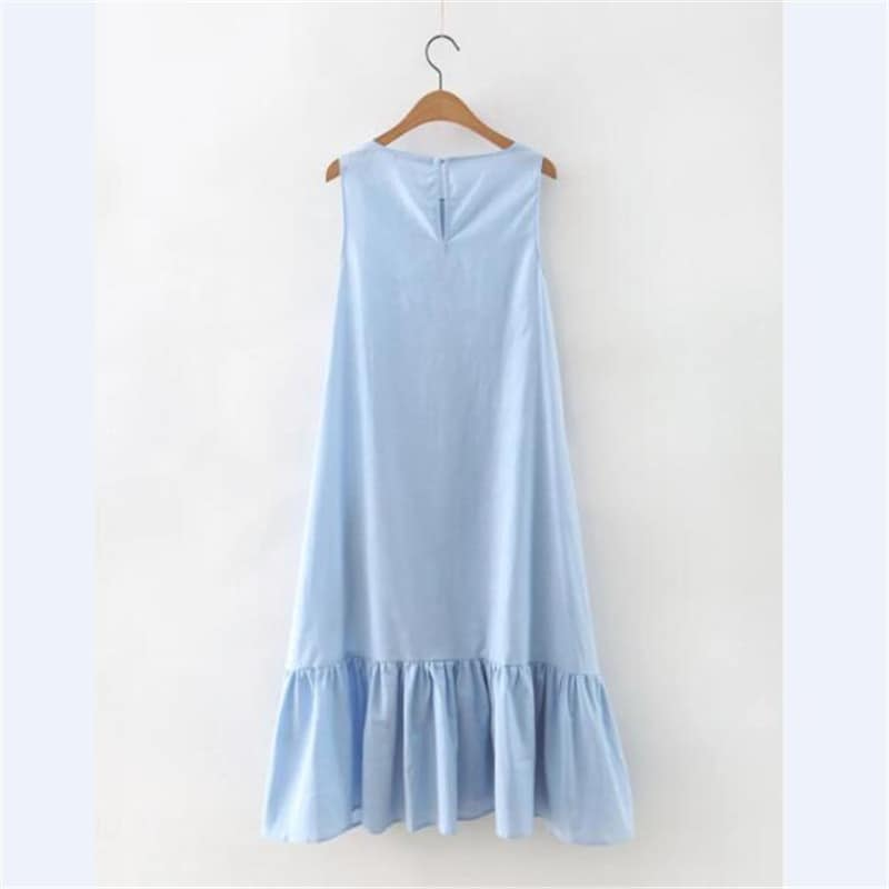 5f909d0e7d4 Женское голубое длинное летнее платье свободного кроя с оборками внизу ...