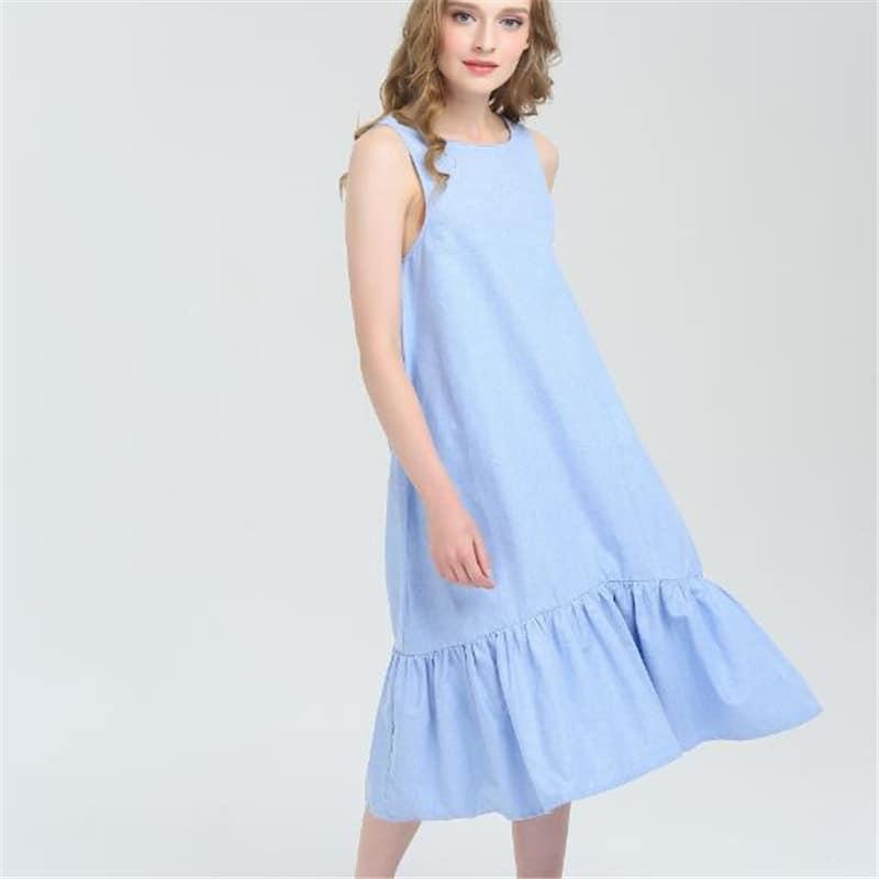 54582231a8b Женское голубое длинное летнее платье свободного кроя с оборками внизу