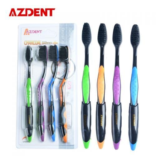 AZDENT Зубная антибактериальная щетка с бамбуковым углем (4 шт. в наборе)