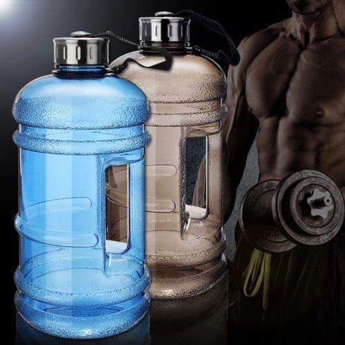 Большая пластиковая спортивная герметичная бутылка с ручкой для воды для фитнеса 2,2 л