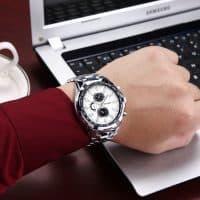 Curren Мужские наручные кварцевые металлические водонепроницаемые часы из нержавеющей стали с аналоговым дисплеем