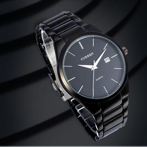 CURREN Мужские наручные кварцевые повседневные металлические водонепроницаемые черные и серебряные часы с аналоговым дисплеем