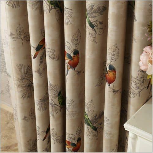 Декоративные шторы с птицами