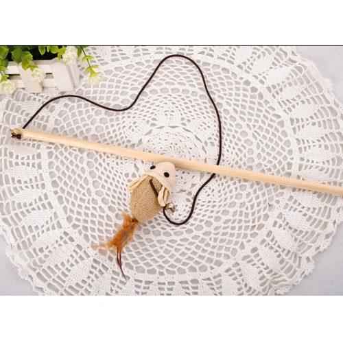 Деревянная игрушка Дразнилка с мышкой и перьями для кошки