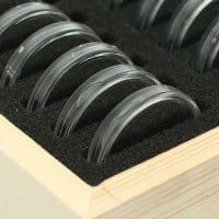 Деревянный футляр-бокс для хранения 50 монет + прозрачные пластиковые капсулы