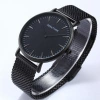 Geekthink Мужские наручные кварцевые металлические водонепроницаемые ультра-тонкие часы из нержавеющей стали с аналоговым дисплеем