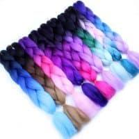 Искусственные накладные волосы-канекалон в косе с эффектом омбре 24 дюйма (60 см)/100 г (60 цвета на выбор)