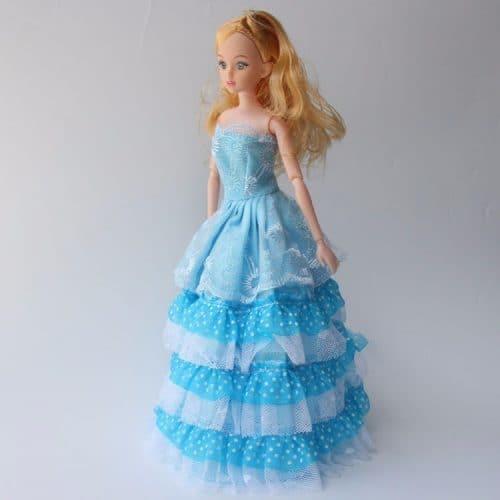 Кукла Барби 30 см в пышном платье, с короной, ожерельем и туфлями, с подвижным телом, длинными темными и светлыми волосами