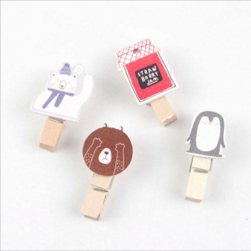 Маленькие деревянные прищепки с мультяшками (в наборе 10 шт.)