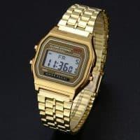 Мужские и женские наручные классические цифровые кварцевые металлические часы из нержавеющей стали (реплика Casio)