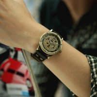 Мужские наручные винтажные автоматические механические стимпанк часы-скелетоны с аналоговым дисплеем