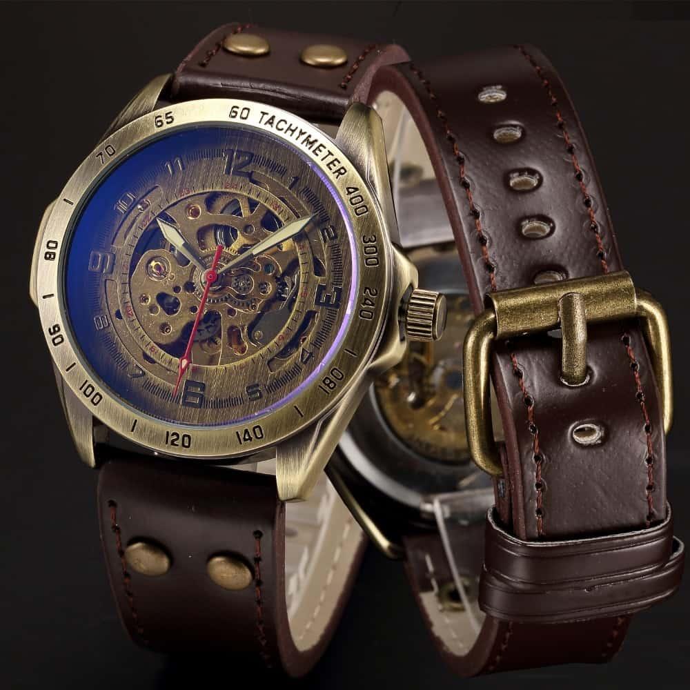 d09ff4d7 Мужские наручные винтажные автоматические механические стимпанк часы- скелетоны с аналоговым дисплеем