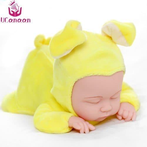 Мягкая детская игрушка-кукла Спящий младенец-зайчик с ушками