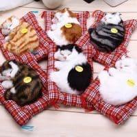 Мягкая игрушка Спящий мяукающий котенок