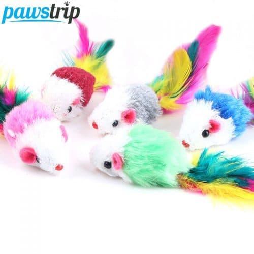 Мягкие игрушки-мышки с яркими перьями для кошки в наборе 10 шт.