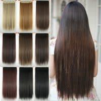 Накладные синтетические искусственные прямые пряди волос натуральных оттенков с эффектом омбре на заколках (60 см)