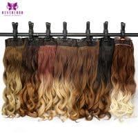 Накладные синтетические искусственные волнистые пряди волос натуральных оттенков с эффектом омбре на заколках (60 см)