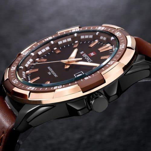 NAVIFORCE Мужские наручные кварцевые водонепроницаемые черные и коричневые часы с аналоговым дисплеем и кожаным ремешком