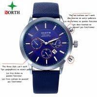 NORTH Мужские наручные кварцевые металлические повседневные водонепроницаемые часы с аналоговым дисплеем и кожаным ремешком