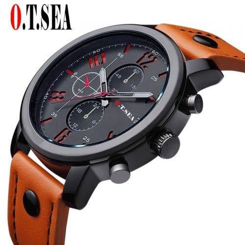 O.T.SEA Мужские наручные кварцевые повседневные часы с аналоговым дисплеем