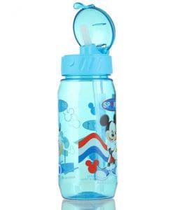 Пластиковая детская герметичная бутылка для воды с трубочкой с мультфильмами 400 мл